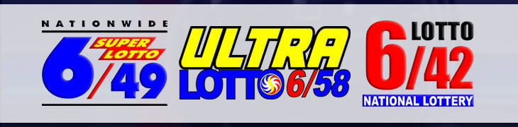 Logos of 6/49 Super Lotto, 6/58 Ultra Lotto and 6/42