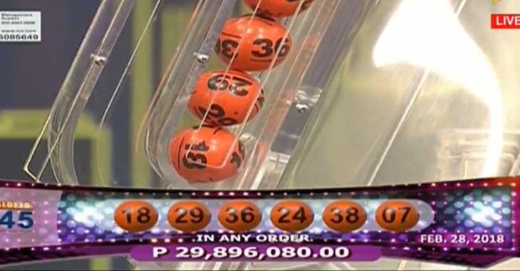 6/45 Mega Lotto Result February 28, 2018