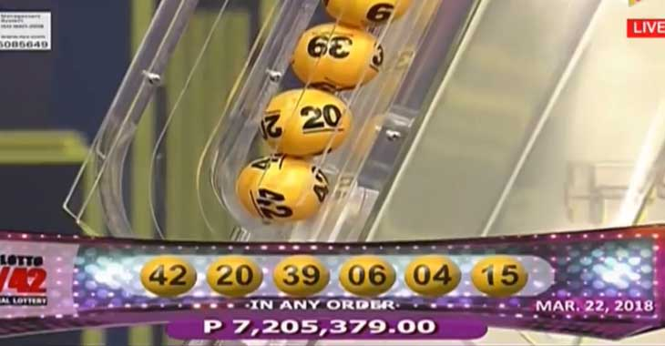 6/42 Lotto Result March 22, 2018