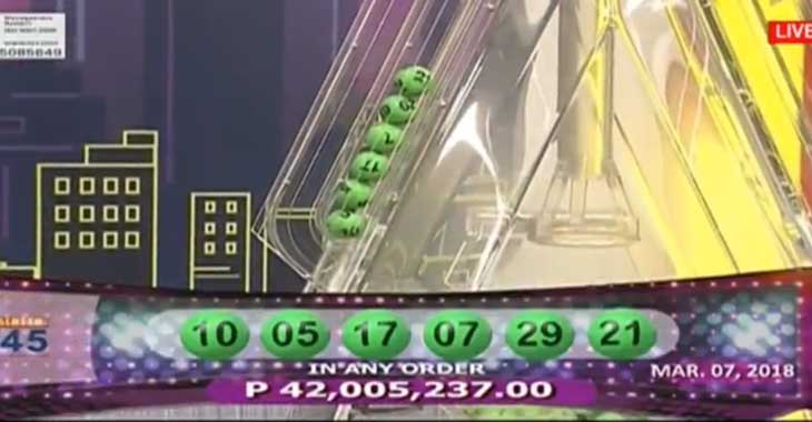 6/45 Mega Lotto Result March 7, 2018