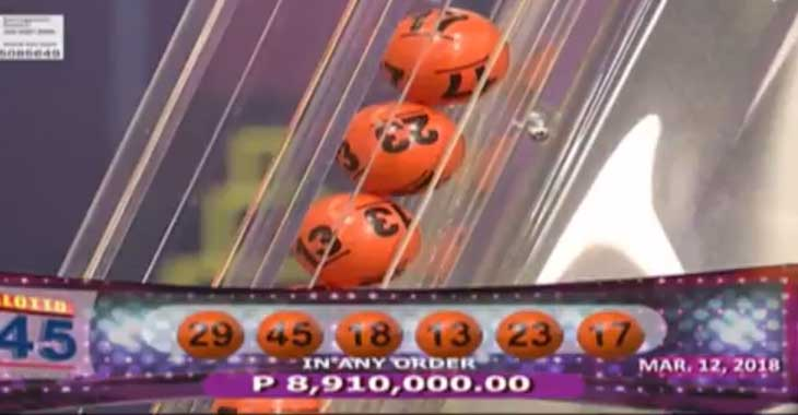 6/45 Mega Lotto Result March 12, 2018