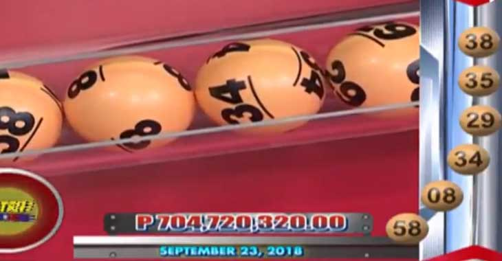 6/58 Lotto Result September 23, 2018
