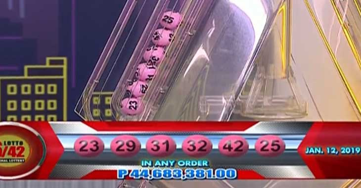 6/42 Lotto Result January 12, 2019