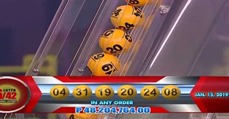 6/42 Lotto Result January 15, 2019