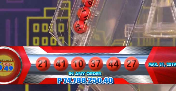 6/49 Lotto Result March 31, 2019