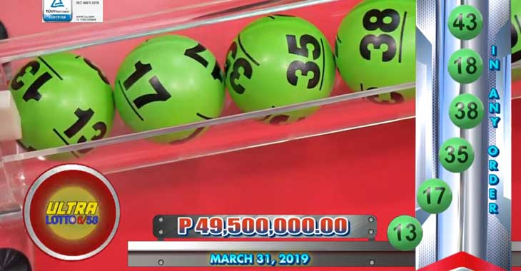 6/58 Lotto Result March 31, 2019