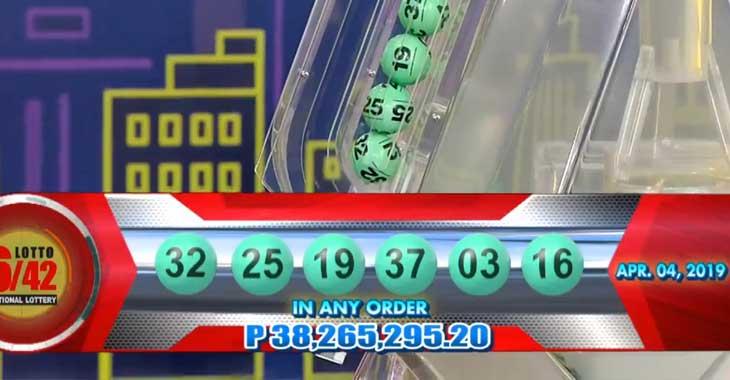 6/42 Lotto Result April 4, 2019