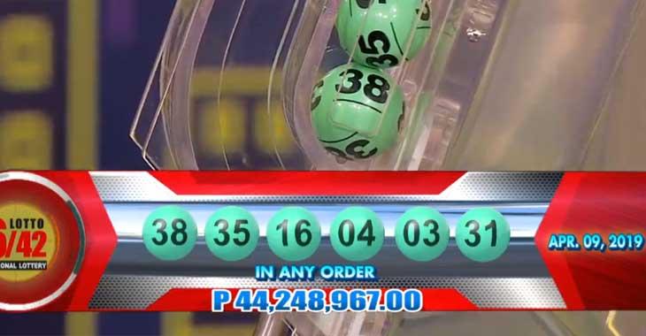 6/42 Lotto Result April 9, 2019