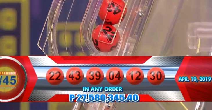 6/45 Lotto Result April 10, 2019