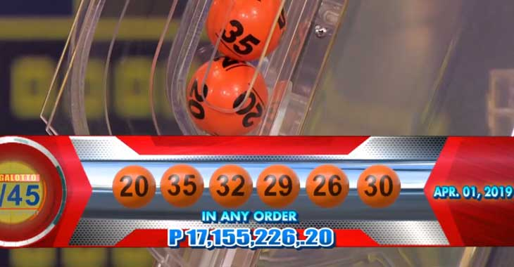 6/45 Lotto Result April 1, 2019
