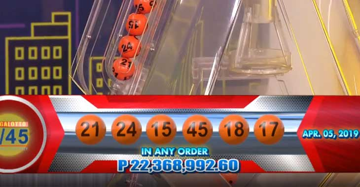 6/45 Lotto Result April 5, 2019