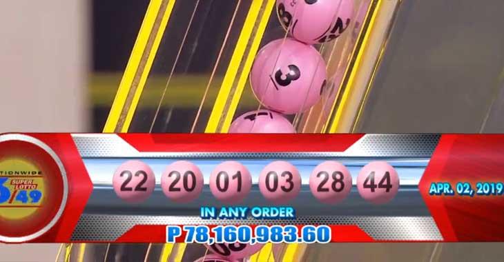 6/49 Lotto Result April 2, 2019
