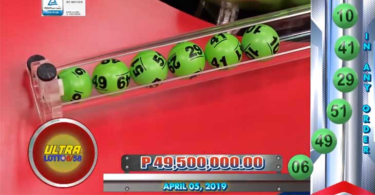 6/58 Lotto Result April 5, 2019