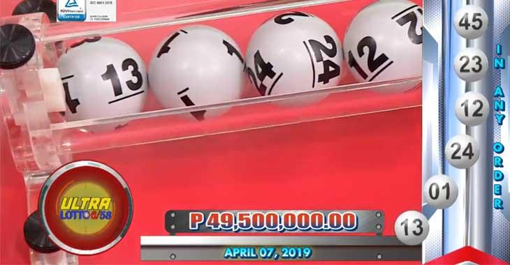 6/58 Lotto Result April 7, 2019