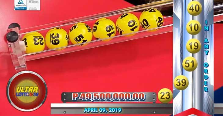 6/58 Lotto Result April 9, 2019